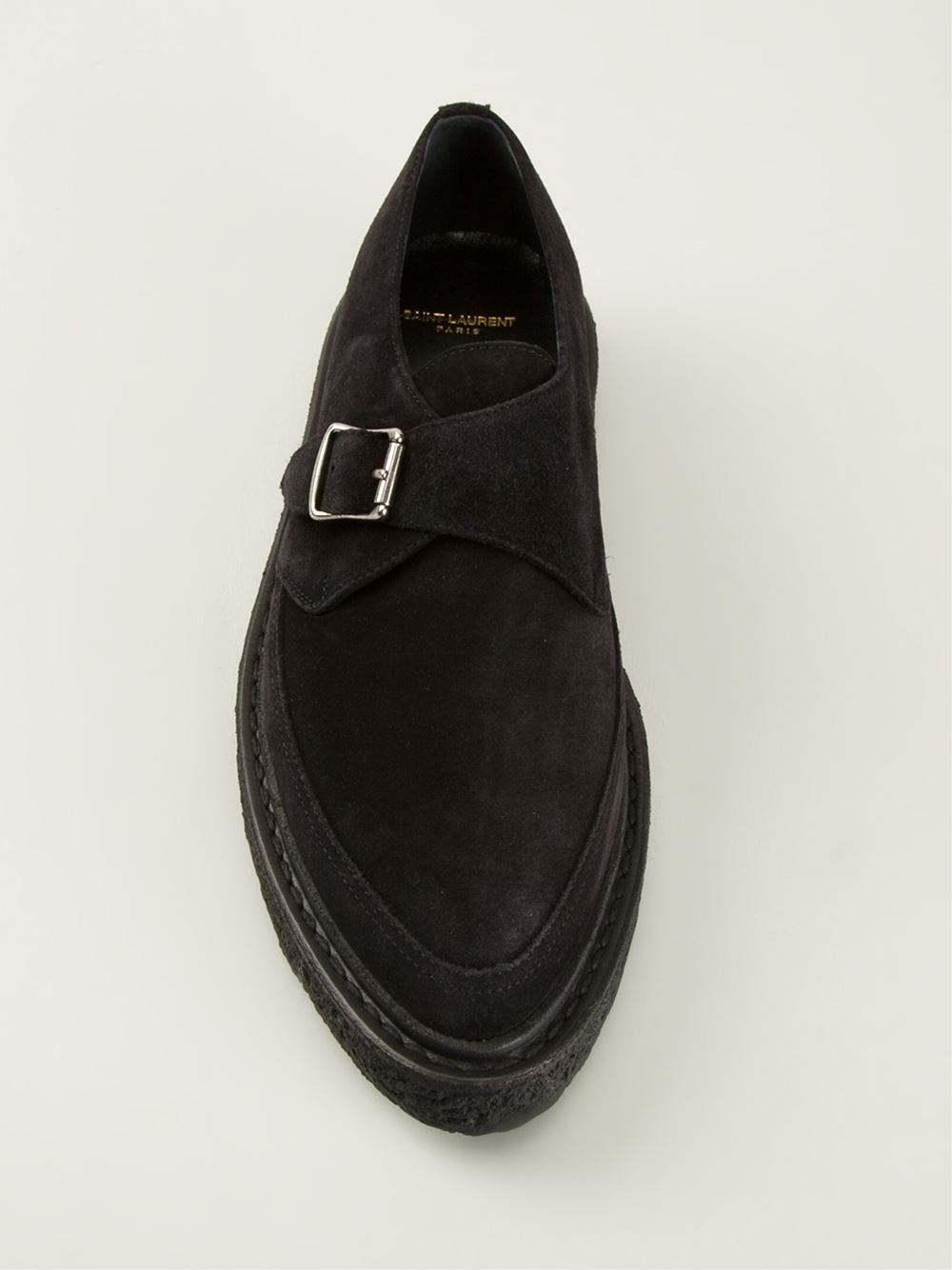 Lyst Saint Laurent Creeper 30 Monk Shoes In Black For Men
