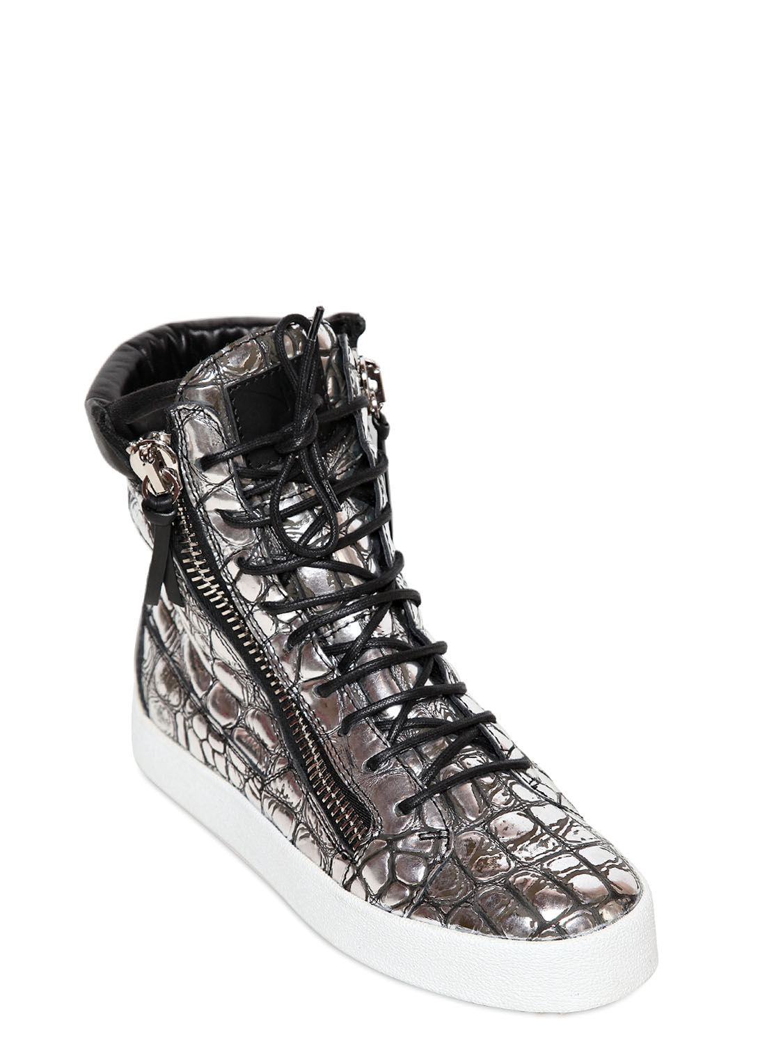 Rubber Rings For Men >> Lyst - Giuseppe Zanotti Croc Embossed Metallic Leather Sneakers in Metallic for Men