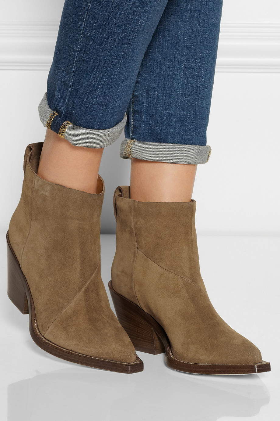 73dd63e4913 Acne Studios Donna Suede Ankle Boots in Brown - Lyst