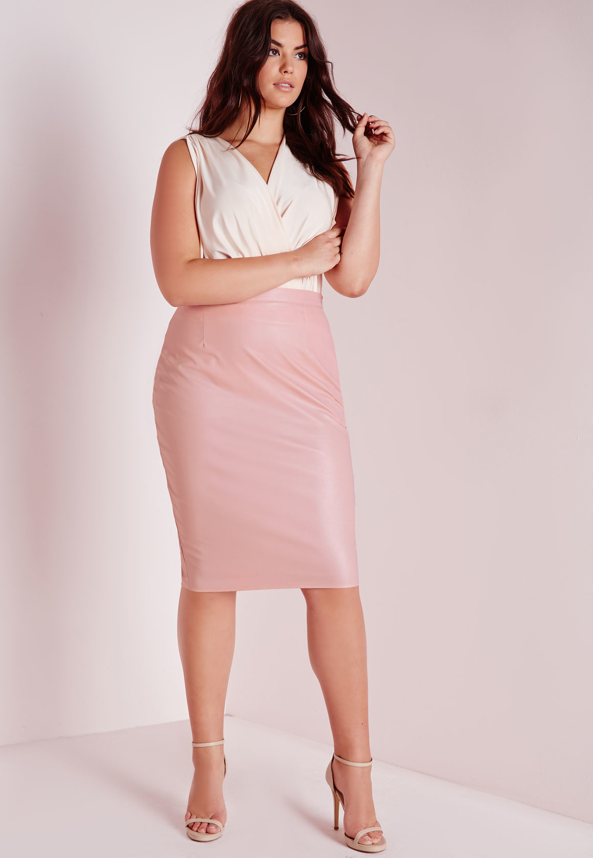 2813fb474fc82 Lyst - Missguided Plus Size Faux Leather Midi Skirt Blush in Pink