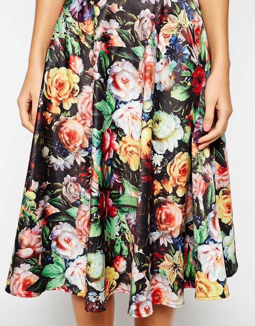 Chi chi london Floral Print Full Midi Skirt | Lyst