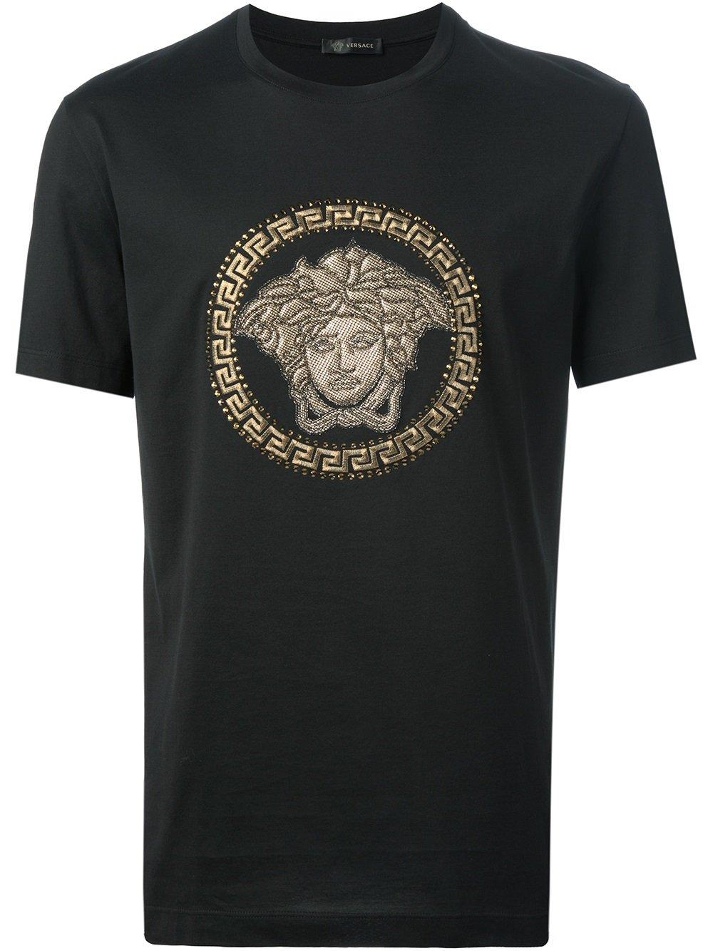lyst versace black medusa print cotton t shirt in black for men. Black Bedroom Furniture Sets. Home Design Ideas