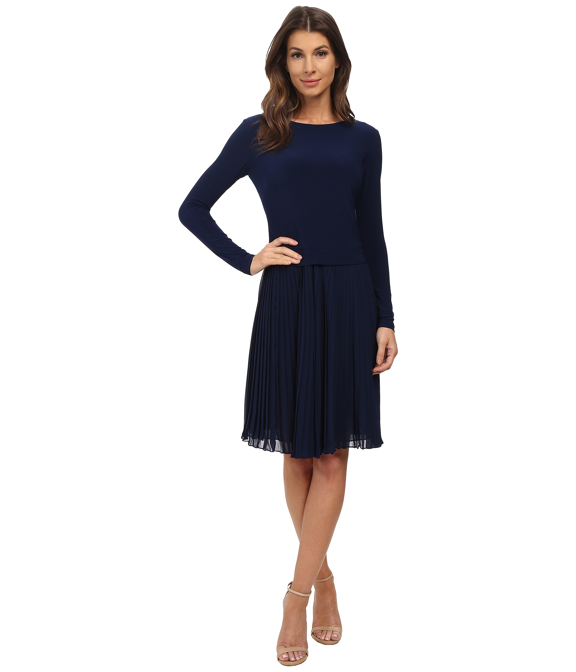 Adrianna Papell Pleated Sleeve Fit Amp Flare Dress In Blue