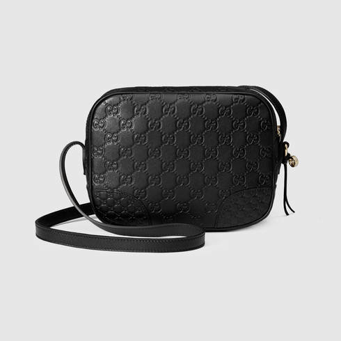 lyst gucci bree ssima mini messenger bag in black