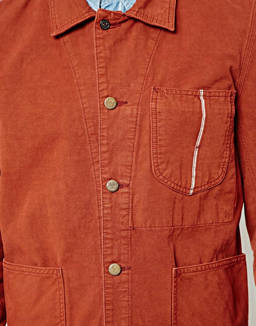 Lee jeans Overall Jacket in Brown for Men | Lyst