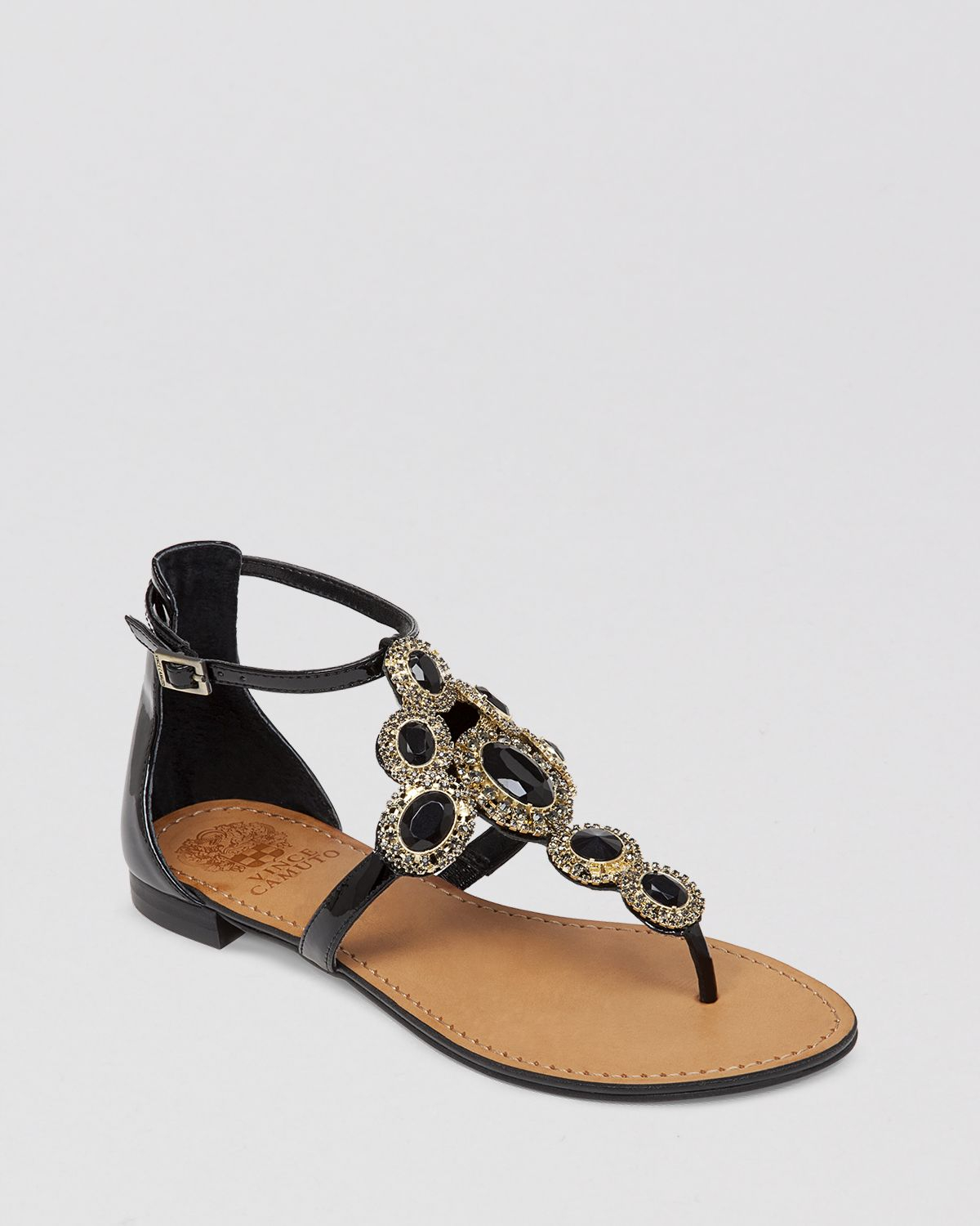 977310d10 Lyst - Vince Camuto Jeweled Thong Flat Sandals - Manelle in Black