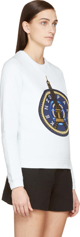f198d6f4 KENZO Mint Green And Gold Eiffel Tower Sweatshirt in White - Lyst