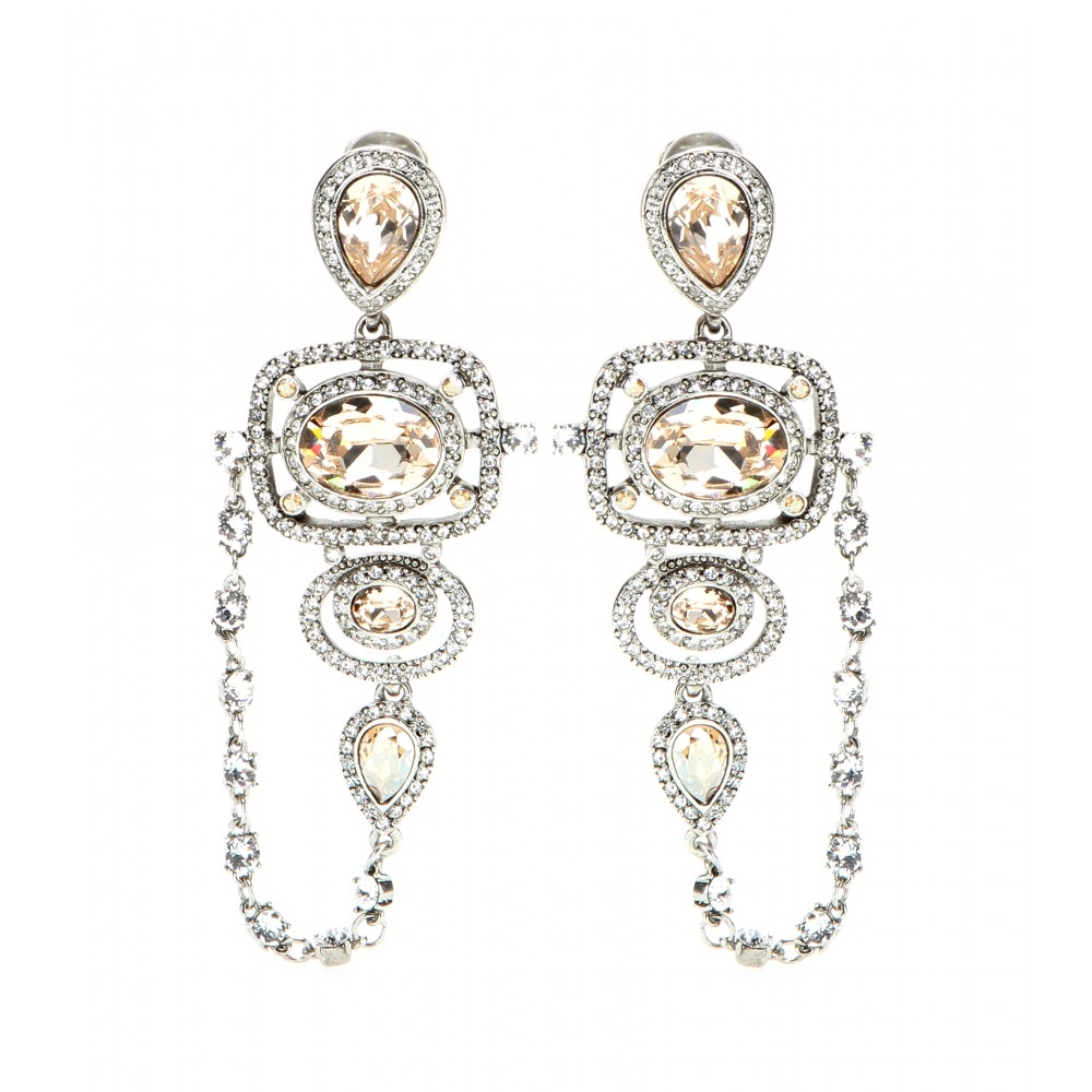 d597b222d0f9 Oscar de la Renta - Multicolor Pave Frame Crystal Clip-on Earrings - Lyst