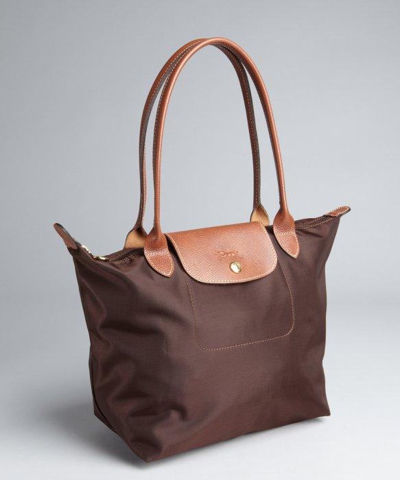 Longchamp Brown Nylon Le Pliage Small Shopper Tote In