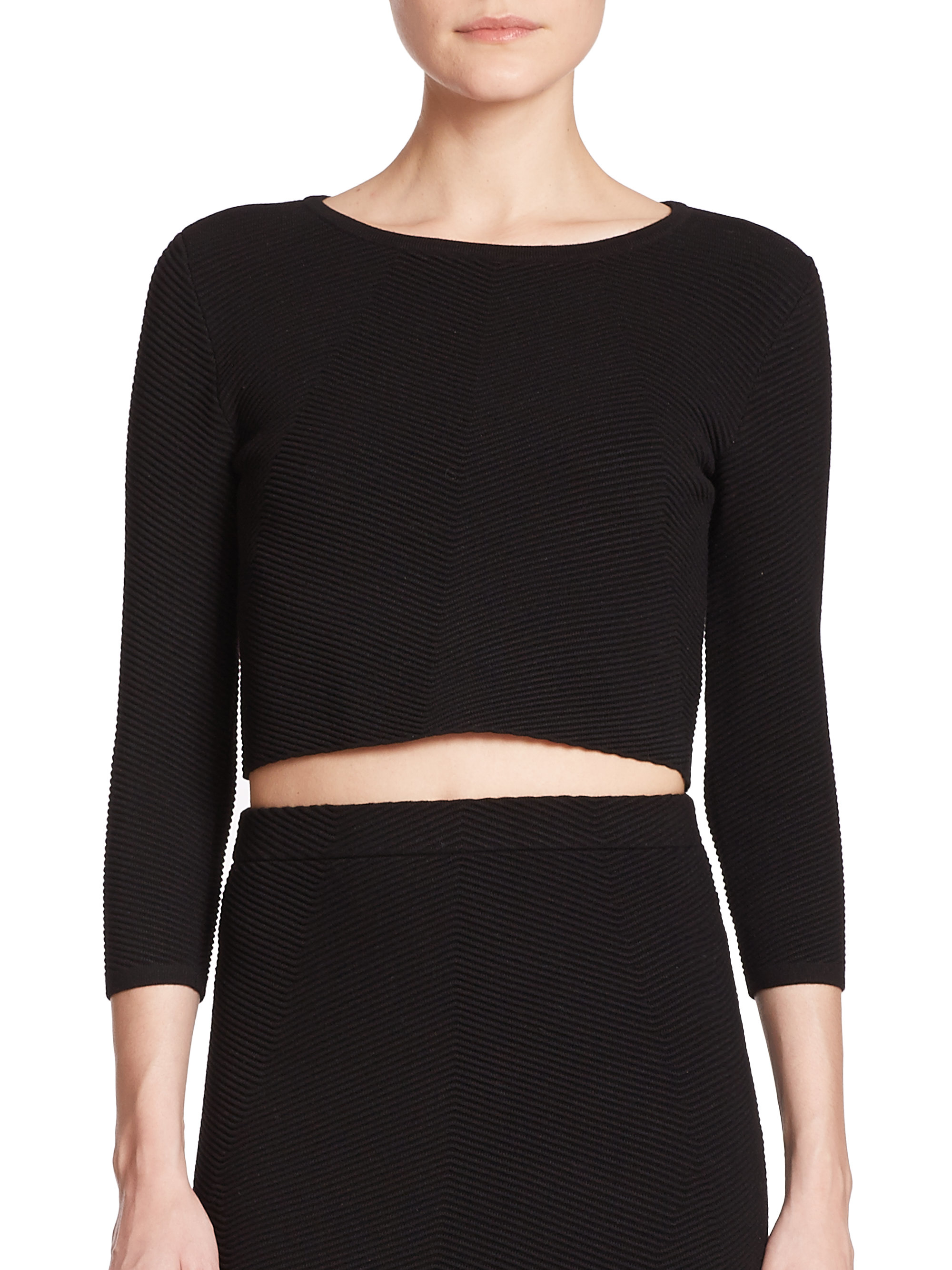 Rebecca minkoff Aria Cropped Ribbed Sweater in Black | Lyst
