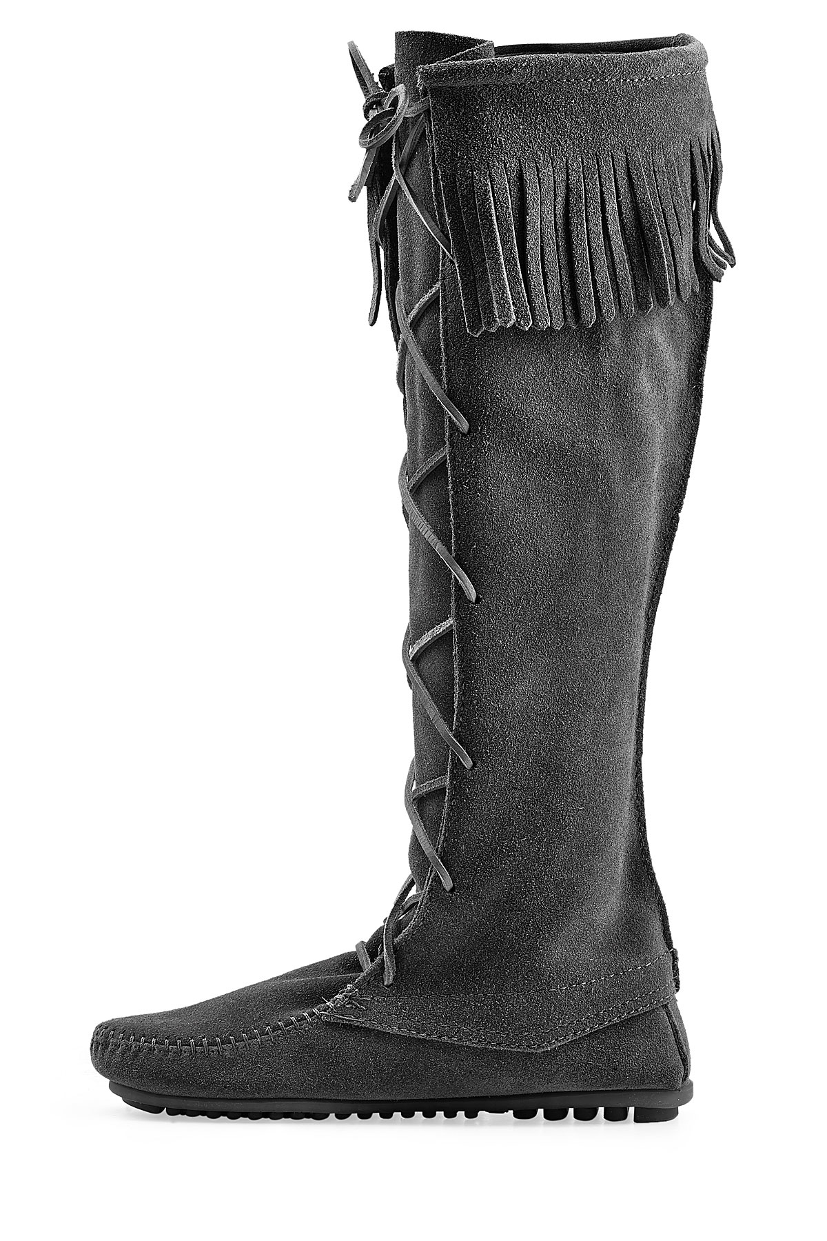 minnetonka fringed suede knee boots with lace up front