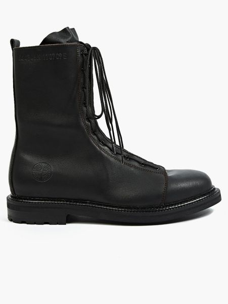 island mens black leather field boots in black for