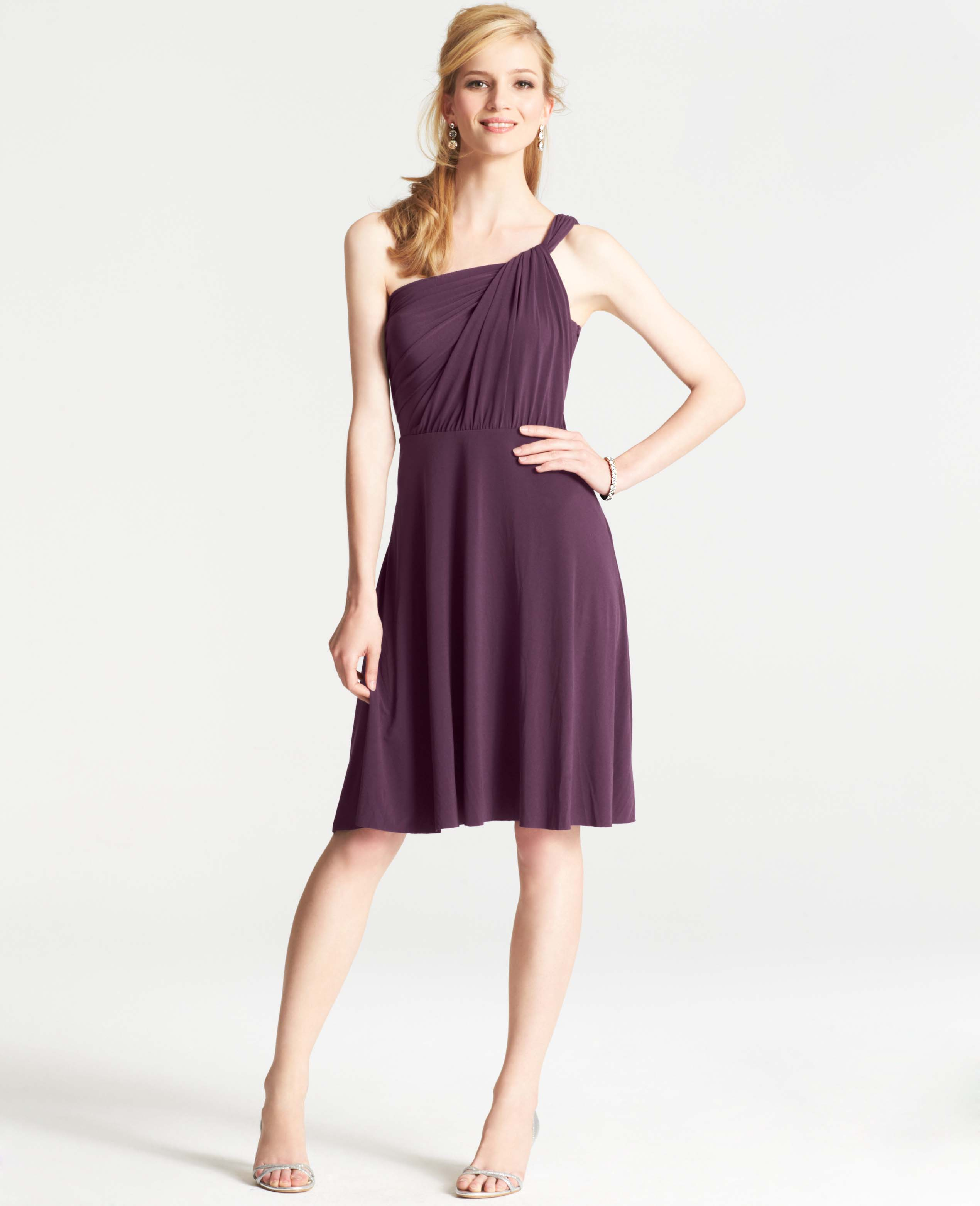 Ann taylor jersey one shoulder bridesmaid dress in purple for Wedding dresses ann taylor