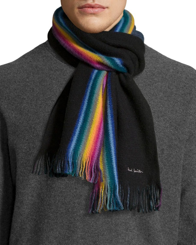 paul smith rainbow stripe wool scarf in black for lyst