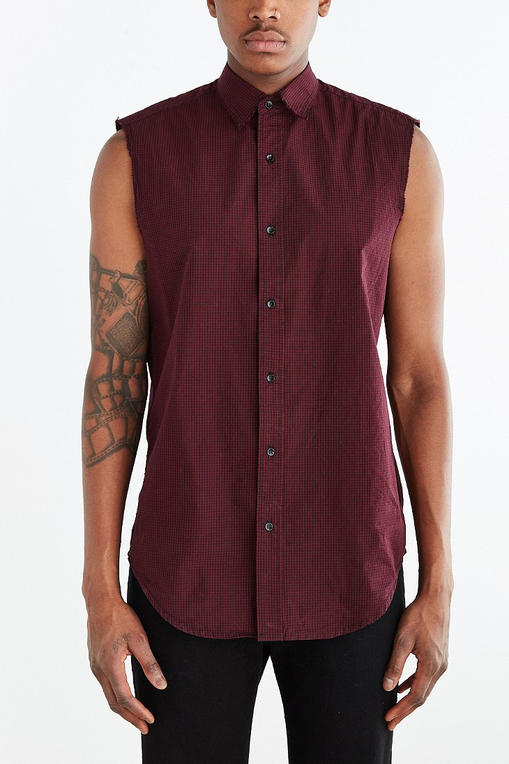 Shades of grey by micah cohen sleeveless raw edge button for Sleeveless cotton button down shirts
