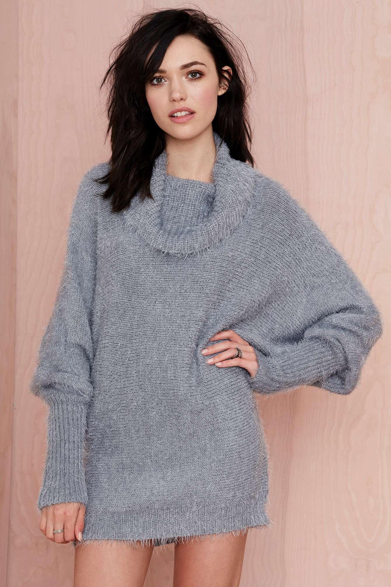 Nasty gal Alpine Fuzzy Sweater in Gray   Lyst