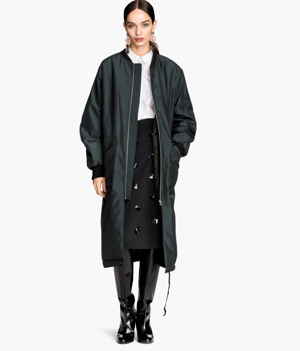 H Amp M Long Bomber Jacket In Green Lyst