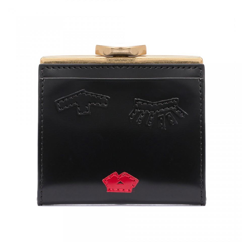 Lyst - Lulu Guinness Tape Face Polished Leather Folded Frame Purse ...