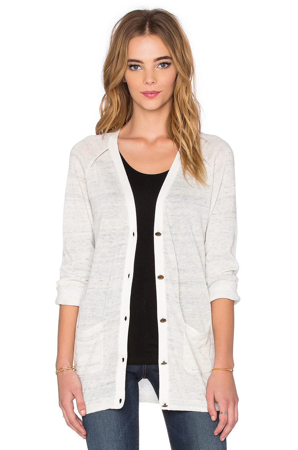 Maison scotch Long Button Down Cardigan in Gray | Lyst