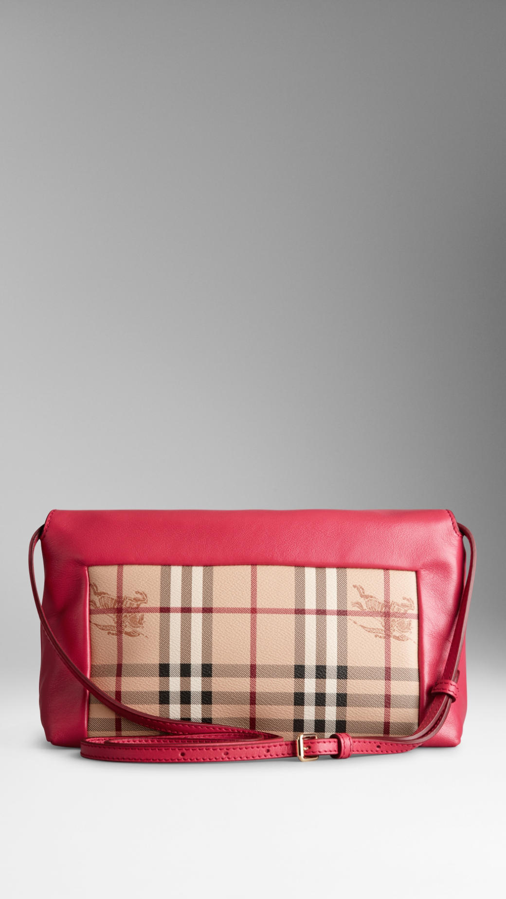 74adf89a6b67 Lyst - Burberry Small Leather and Haymarket Check Clutch Bag in Red