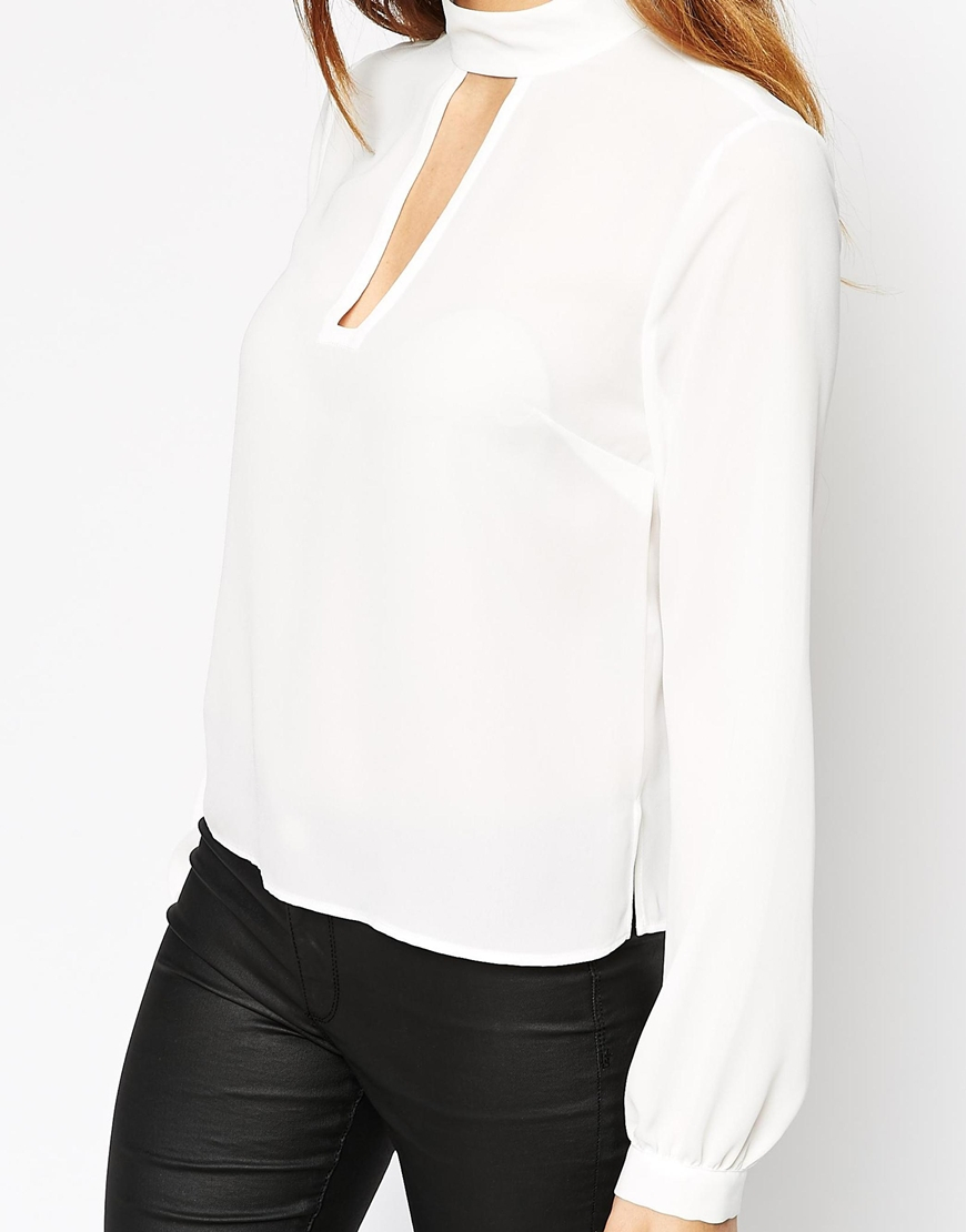 03da610fad825 Lyst - ASOS High Neck With Key Hole Detail Top in White
