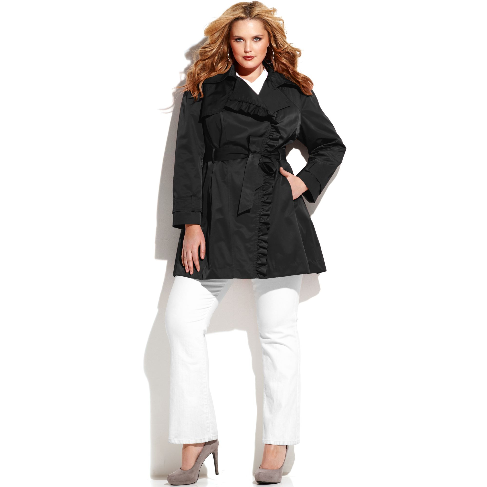 Lyst Jessica Simpson Plus Size Ruffletrim Belted Trench