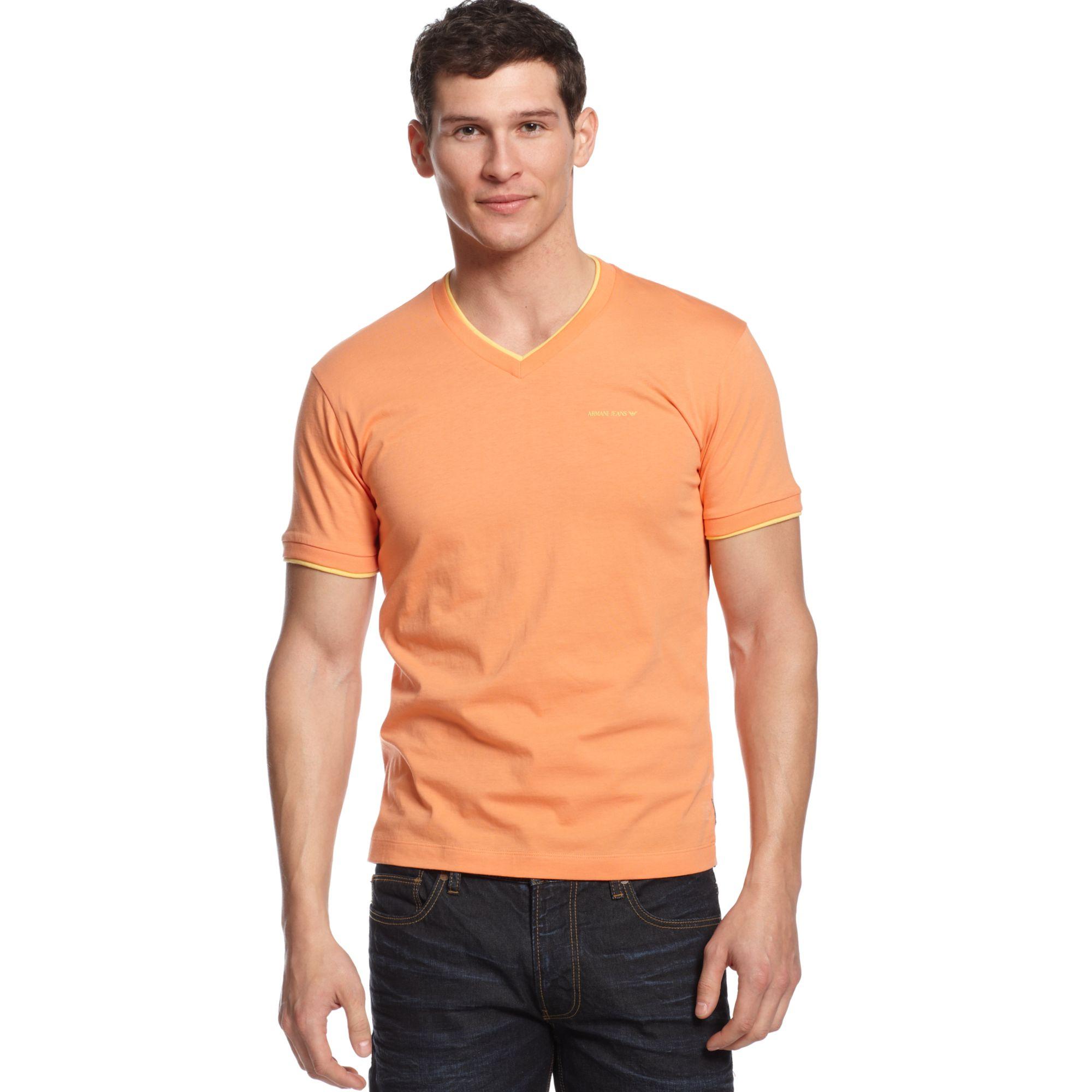 armani jeans doublelayer vneck tshirt in orange for men lyst. Black Bedroom Furniture Sets. Home Design Ideas