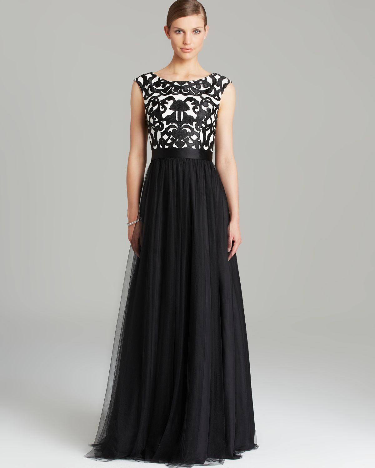 Gowns For Women: Cap Sleeve Printed Tulle Skirt In