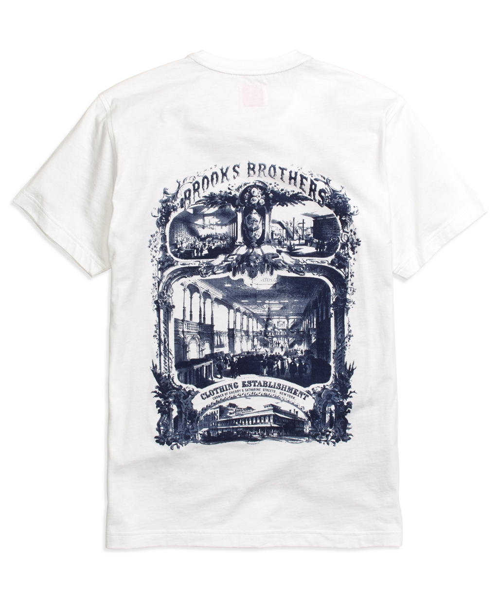Brooks brothers vintage print tee shirt in white for men Brooks brothers shirt size guide