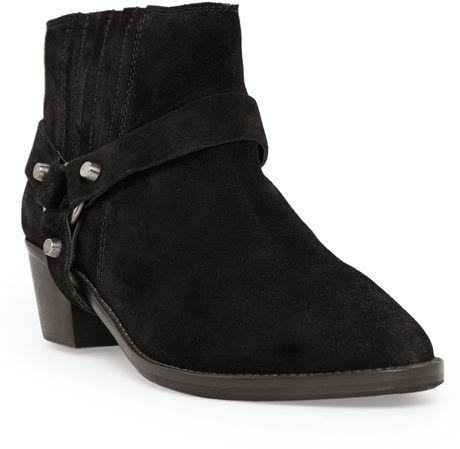 mango suede biker ankle boots in black lyst