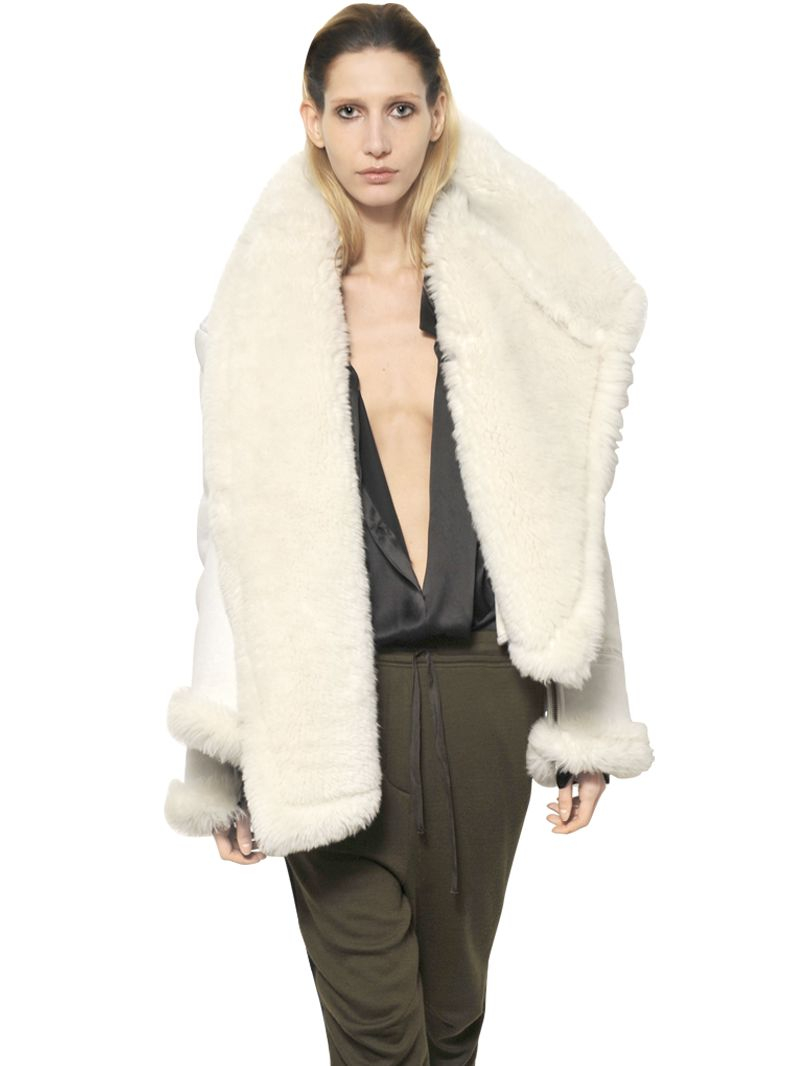 Haider ackermann Merino Shearling Jacket in White for Men | Lyst