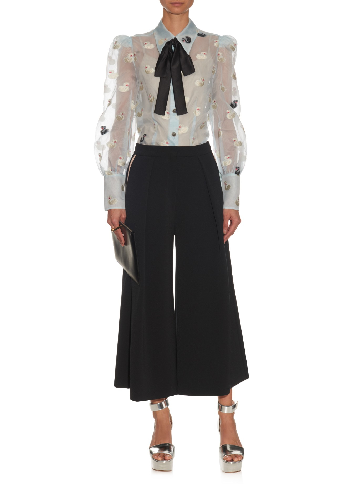 Marc Jacobs Swan Jacquard Organza Blouse In White Lyst