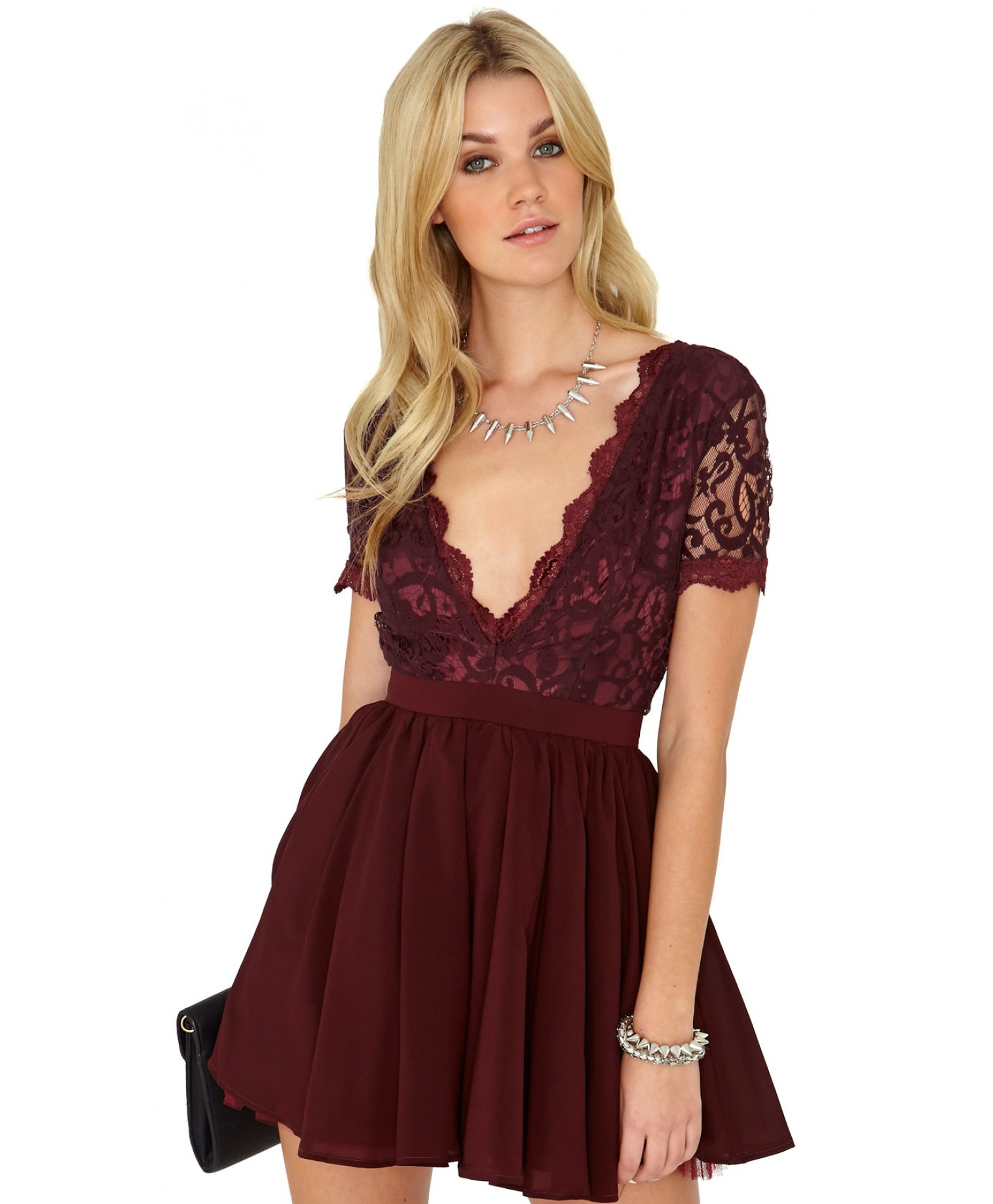 high neck plunge dress