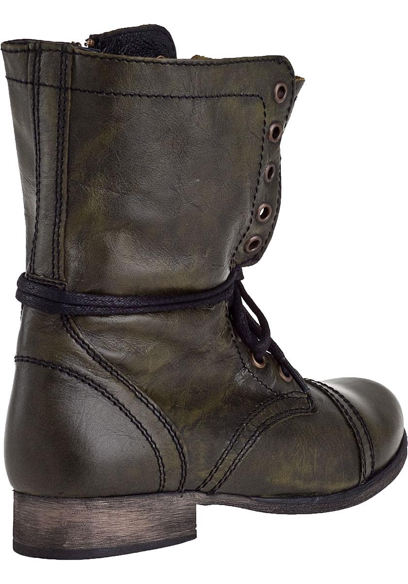 Steve madden Troopa Combat Boot Dark Green Leather in Black | Lyst