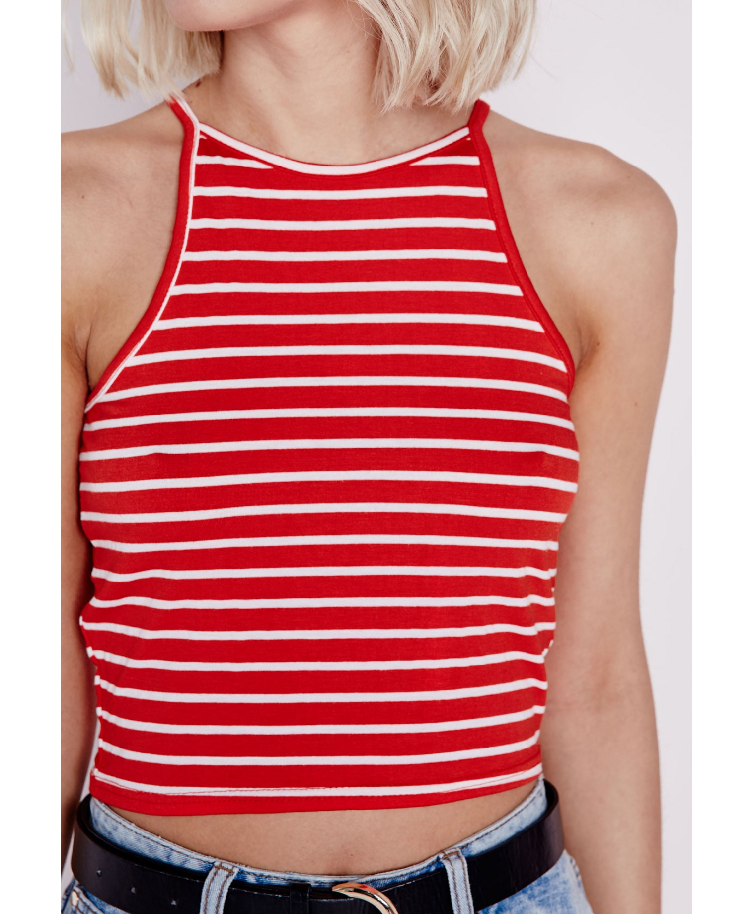 7034d7d495e31 Lyst - Missguided Striped High Neck Crop Top Red in Red