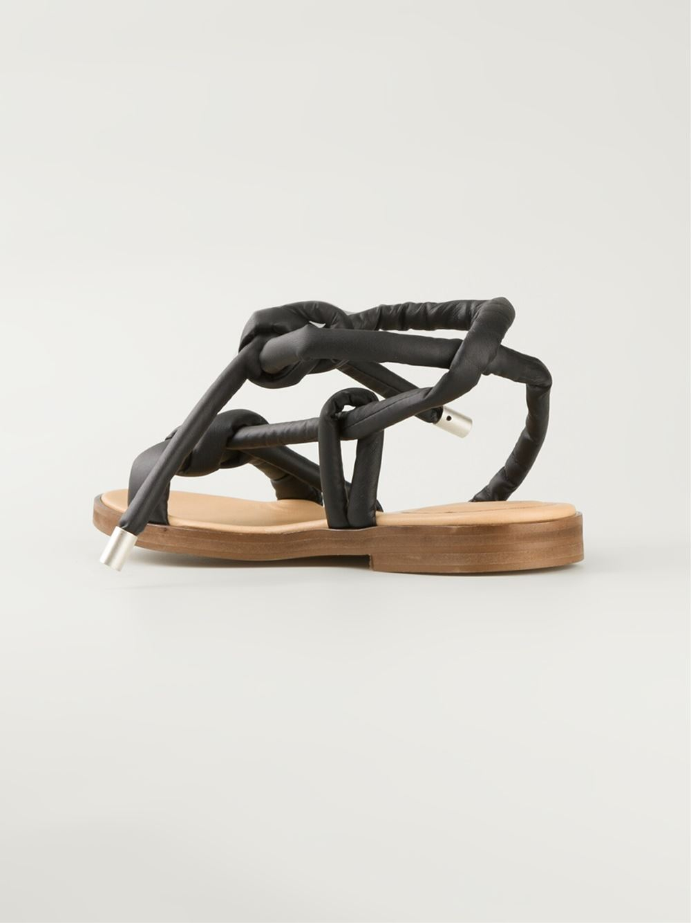 Mm6 by maison martin margiela knot detail sandals in black for Mm6 maison margiela