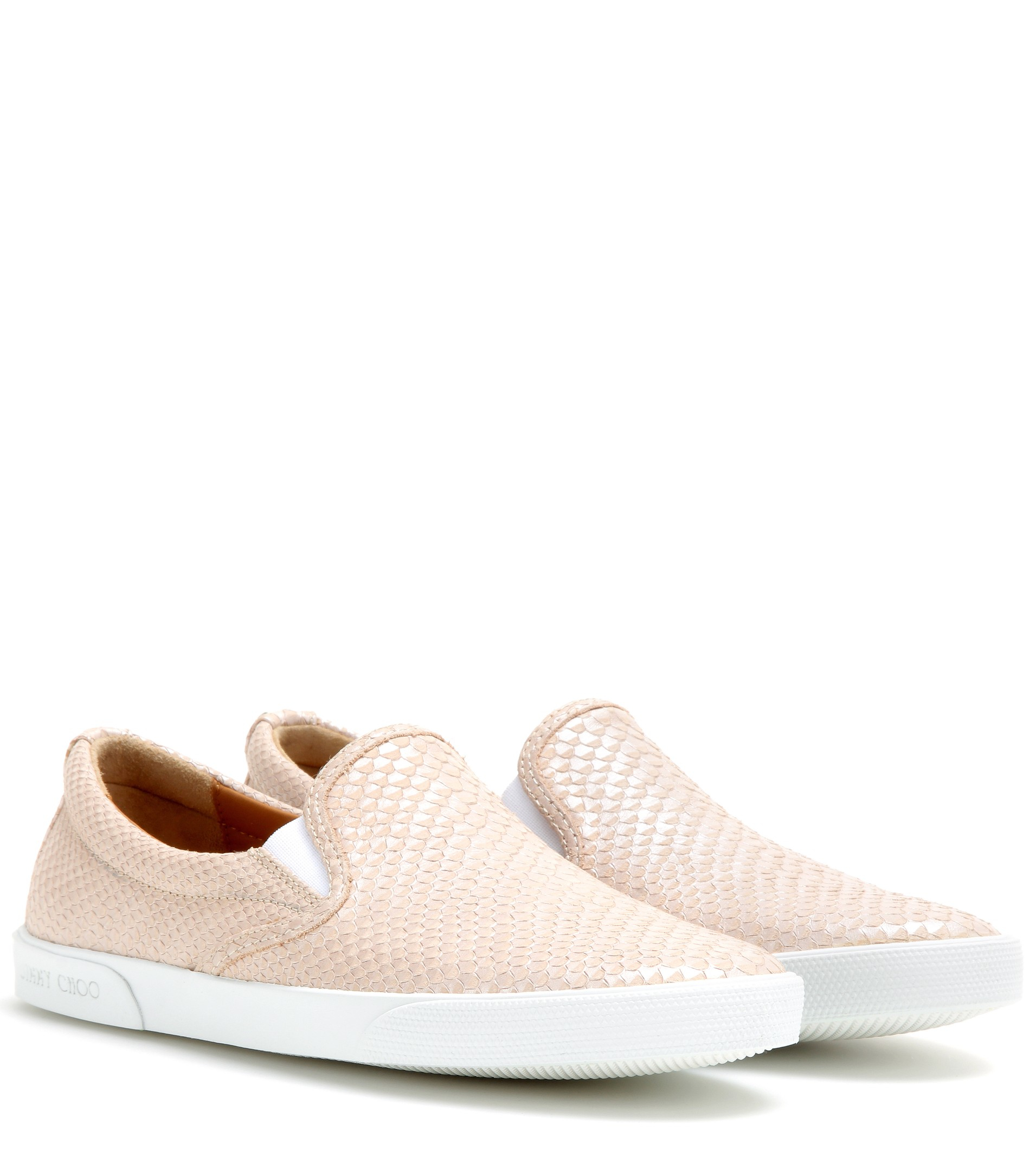 353b4123af9 Jimmy Choo Demi Embossed Leather Slip-on Sneakers in Natural - Lyst