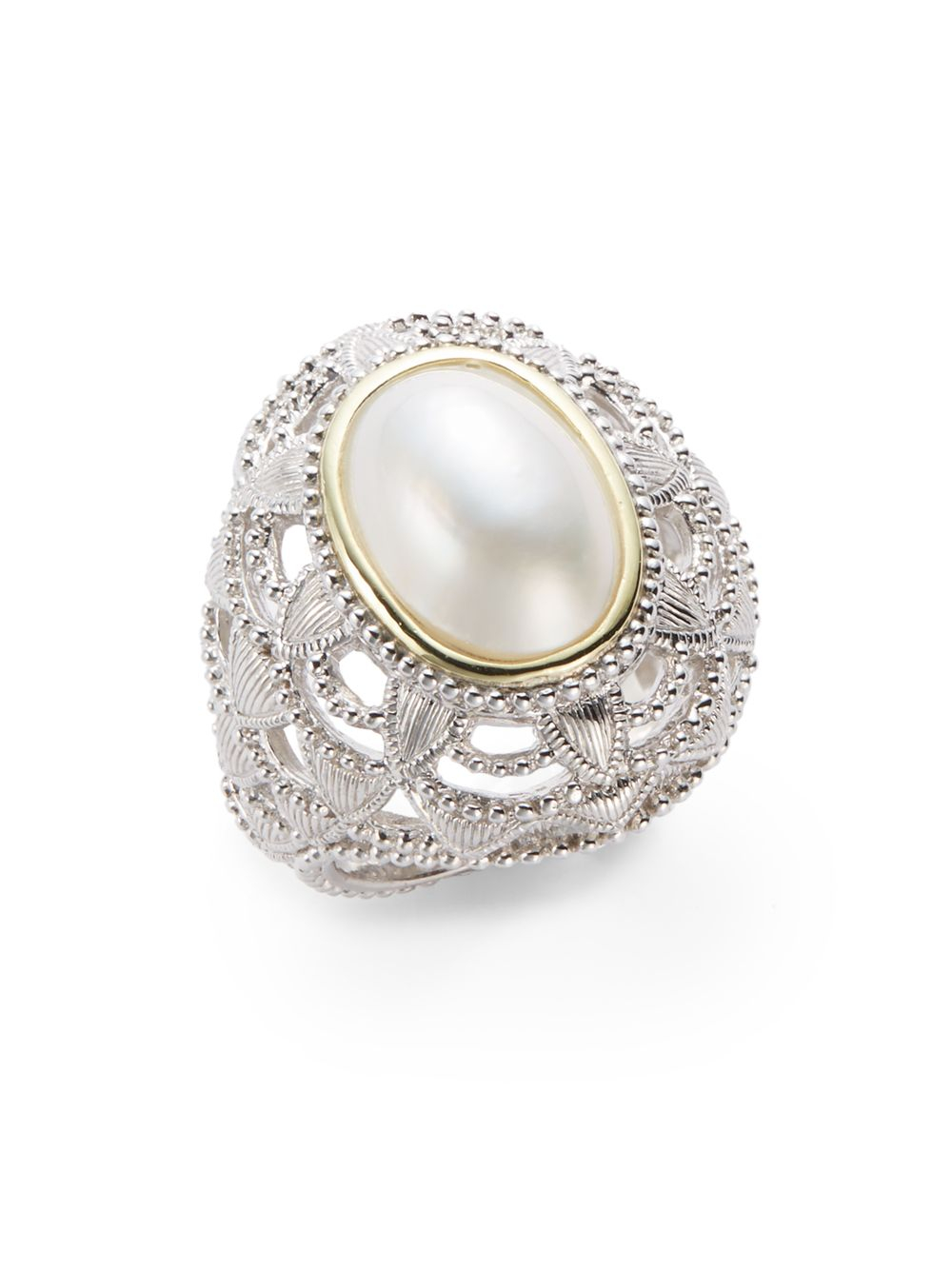 judith ripka oval mabe pearl sterling silver ring in