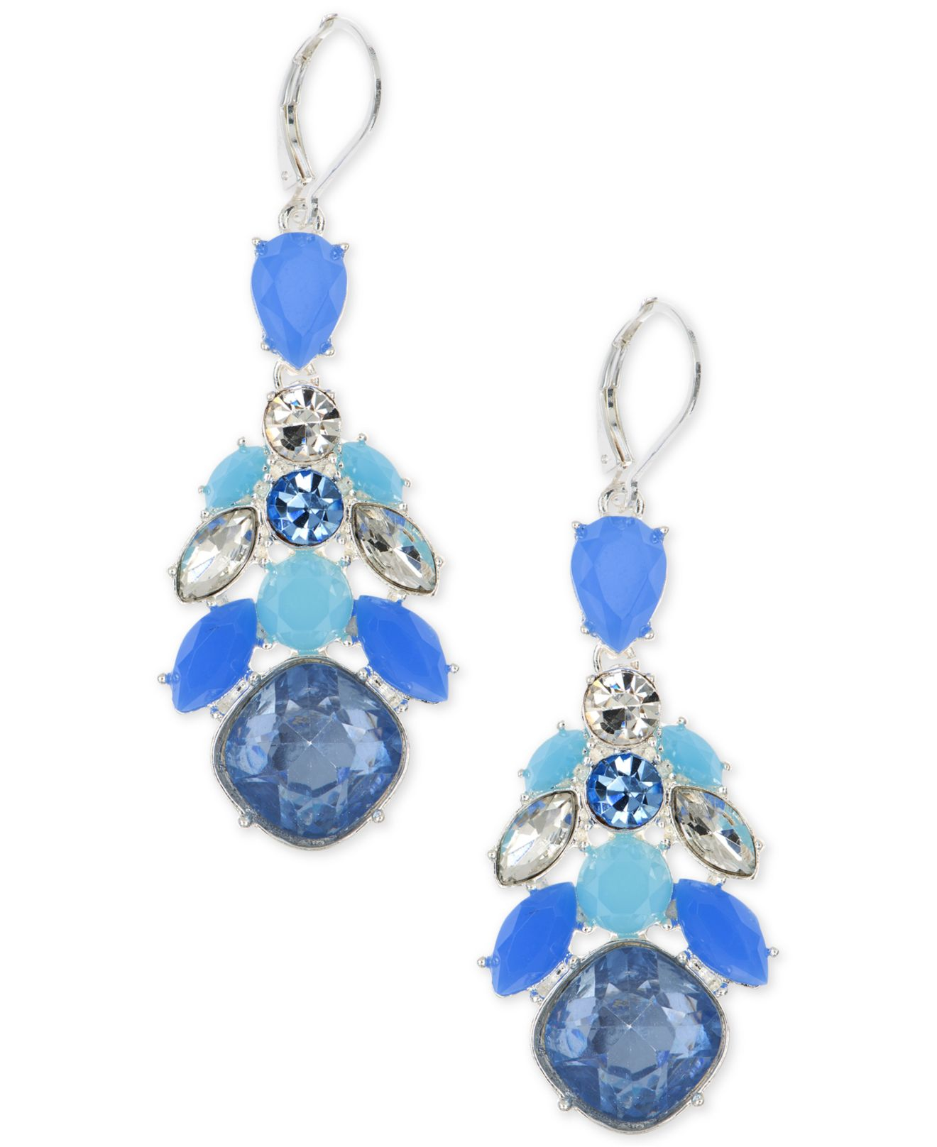 nine west silver tone blue chandelier earrings in