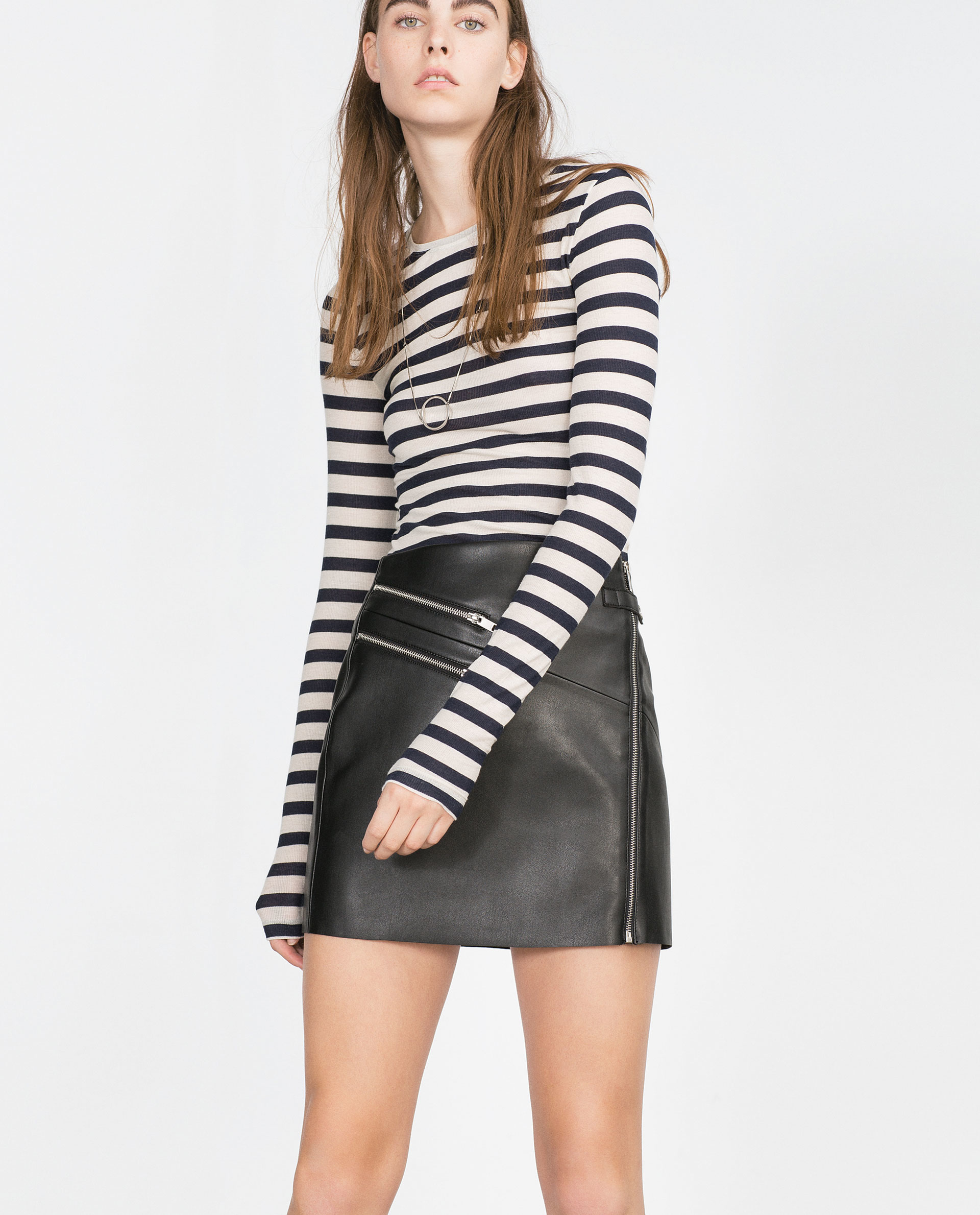 Black Faux Leather Skirt - Skirts