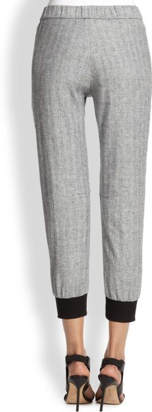 La T By L Agence Cropped Linen Amp Cotton Track Pants In
