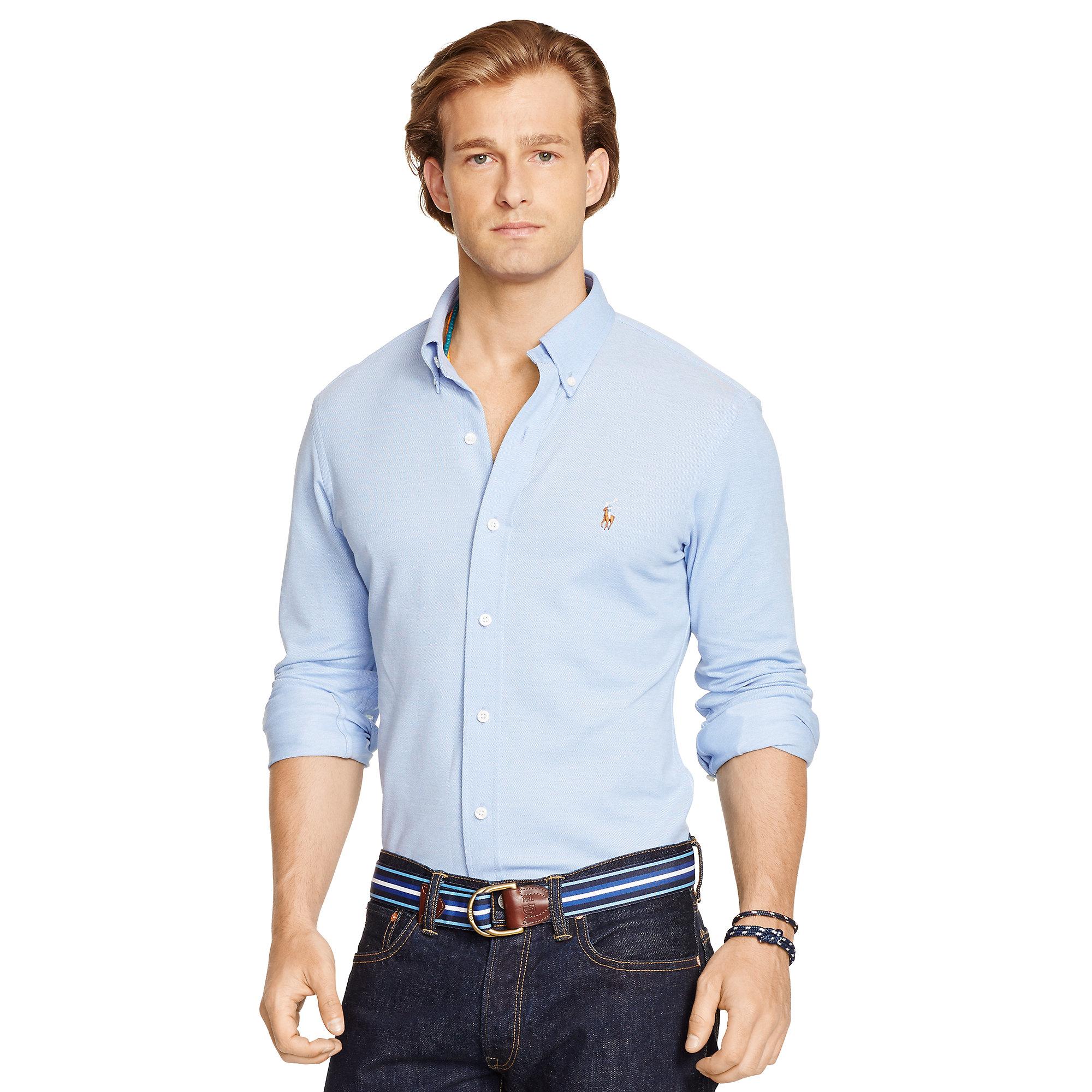 Polo Ralph Lauren Knit Oxford Shirt In Blue For Men Lyst