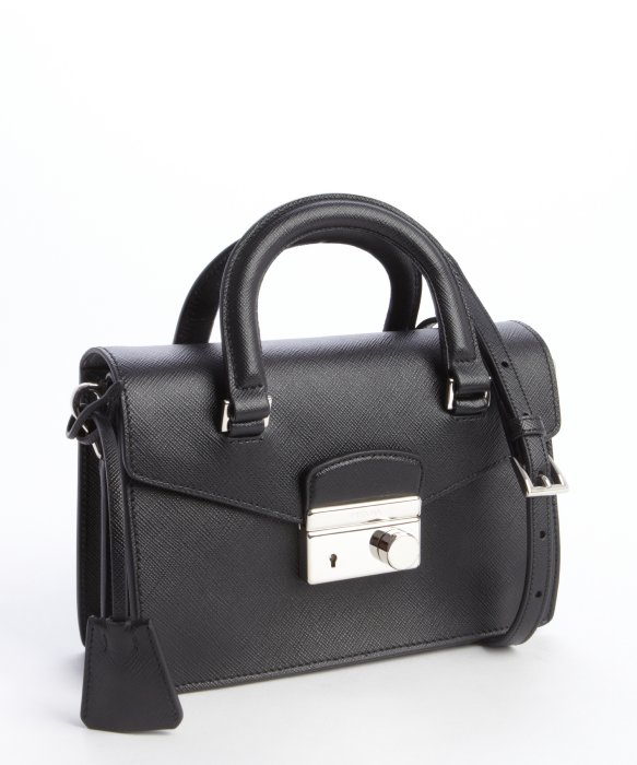 Prada Black Saffiano Leather Mini Shoulder Bag in Black | Lyst