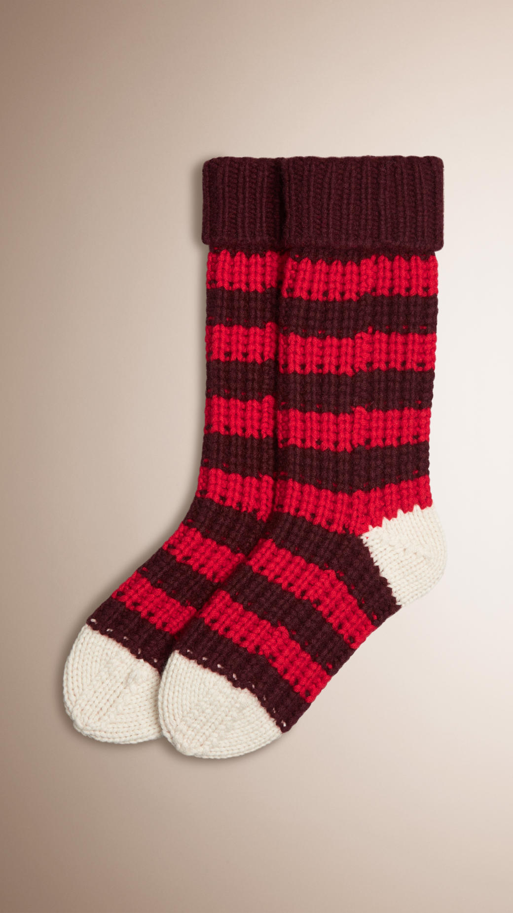 Burberry Striped Knitted Cashmere Socks in Red for Men Lyst