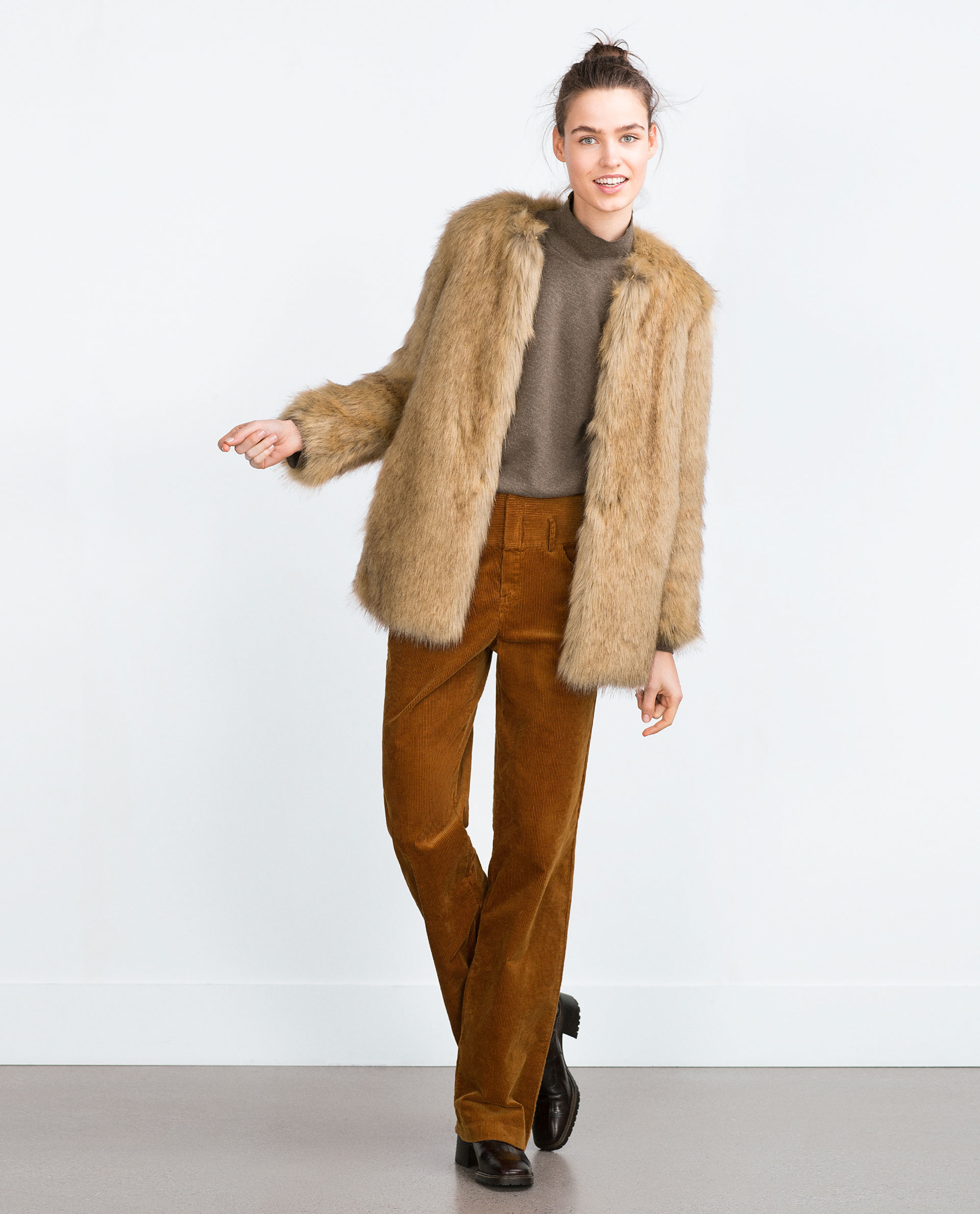 Faux Fur Coats From lined motorcycle jackets to dusters, there's plenty of faux fur to go around this winter at Zara. No matter your personal style, guaranteed, there's a furry option just waiting.