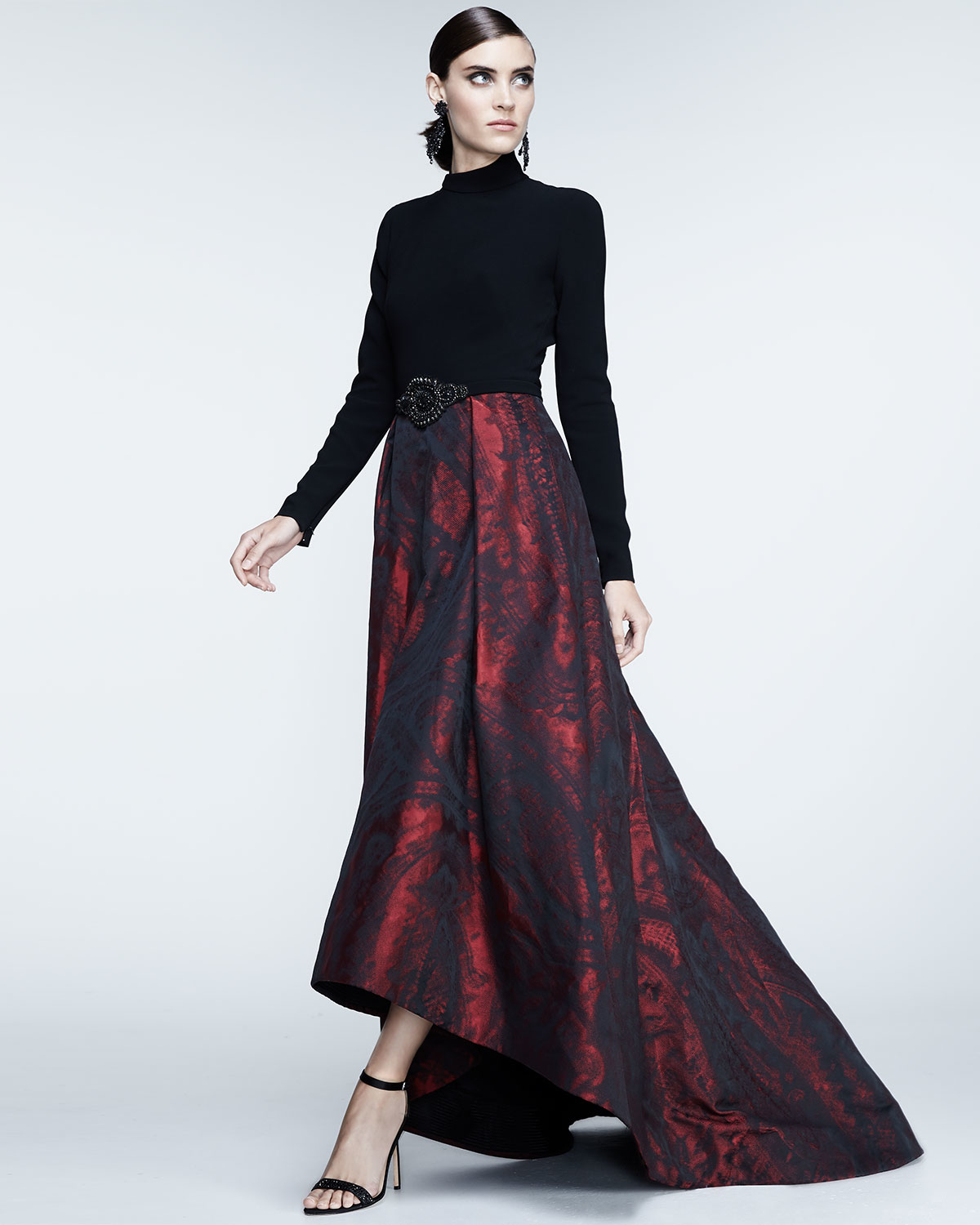 Lyst - Theia Long-sleeve Mock-neck Combo Gown in Red