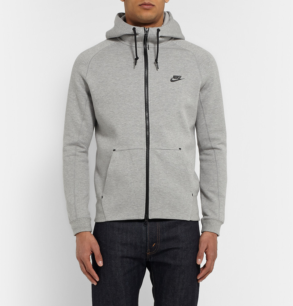 14eca8315c51 Nike Tech Fleeceback Cotton-Blend Hoodie in Gray for Men - Lyst