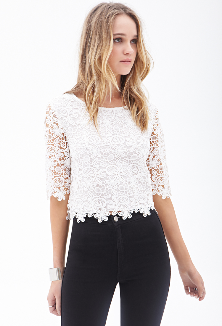 fa352e22ffb66 Lyst - Forever 21 Floral Crochet Crop Top in White