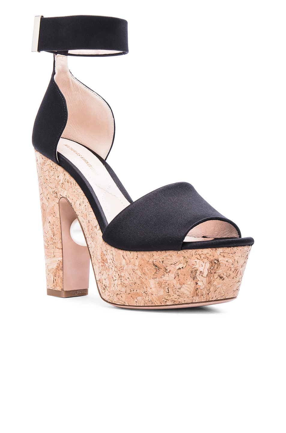 0ec68bf841f Lyst - Nicholas Kirkwood Maya Pearl Leather Platform Sandals in Black