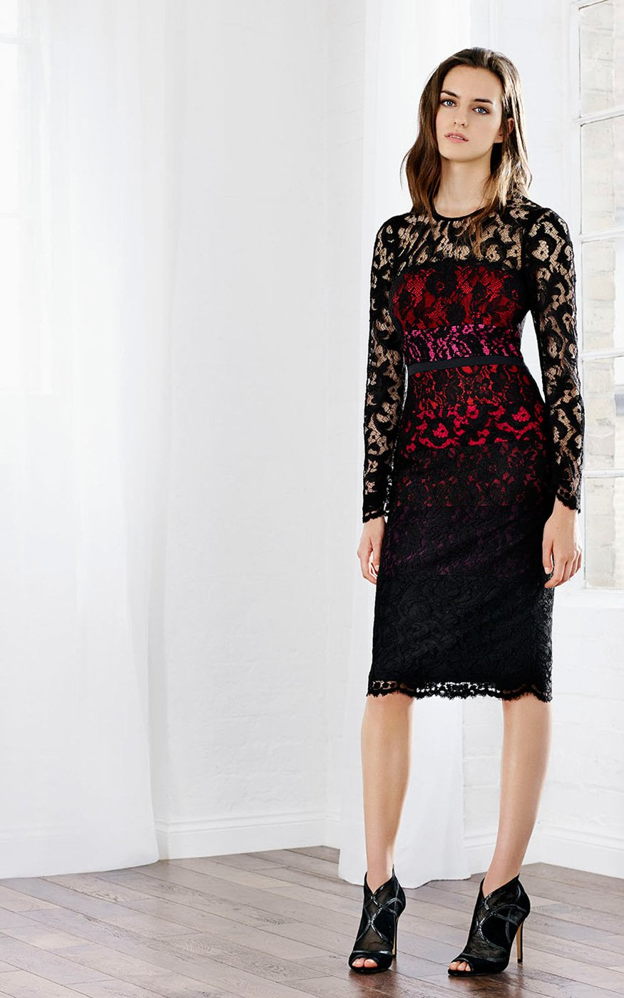 Lyst Karen Millen Long Sleeve Lace Dress In Black